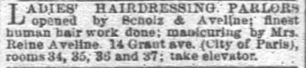 Kristin Holt | Victorian Ladies' Hairdressers. San Francisco Chronicle of San Francisco, California, on March 9, 1890.
