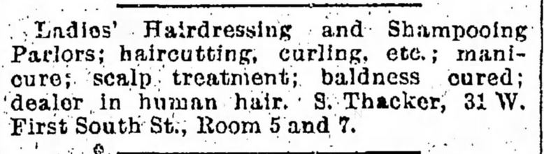 Kristin Holt | Victorian Ladies' Hairdressers | The Salt Lake Tribune of Salt Lake City, Utah, on October 12, 1890.