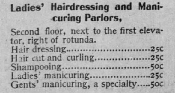 Kristin Holt | Victorian Ladies' Hairdressers. This Ladies' Hairdressing Parlor includes Manicuring. The San Francisco Call of San Francisco, California, on July 5, 1896.