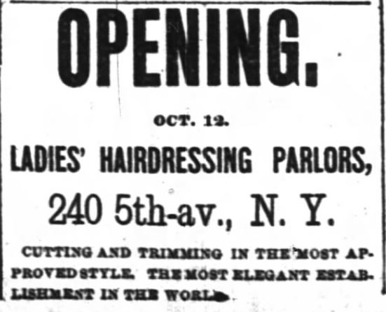 Kristin holt | Victorian Ladies' Hairdressing. Opening of Ladies' Hairdressing Parlors on 240 5th Ave., New York. The New York Times of New York, New York on October 11, 1885.
