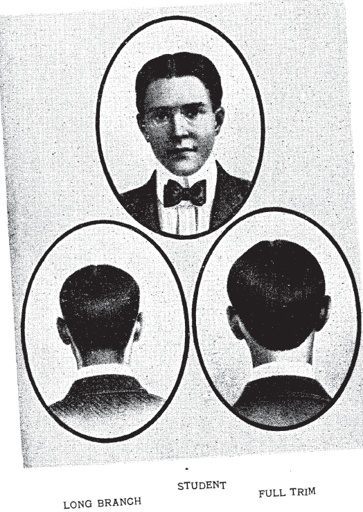 "Men's Styles: ""Long Branch"" full trim for male ""students"", , from Bridgeford's Revised Barber and Toilet Instructor Manual, 1904."