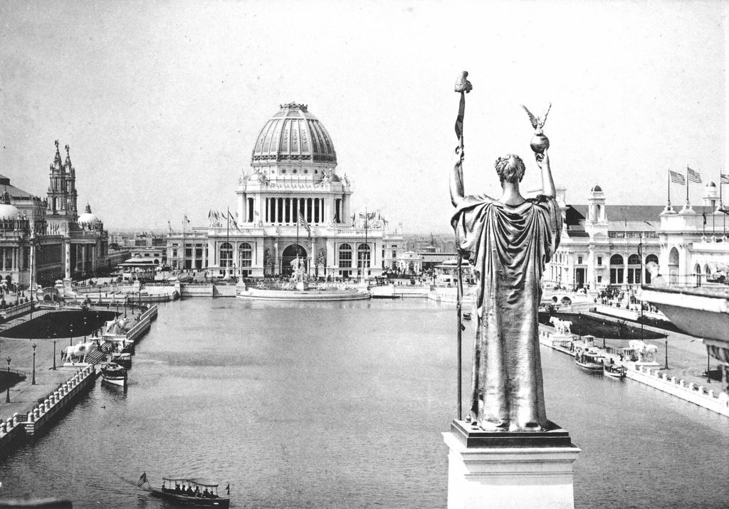 Looking West from Peristyle Court of Honor and Grand Basin, 1893, World's Columbian Exhibition (World's Fair). [Image: Public Domain, via Wikipedia]