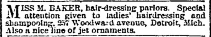 Kristin Holt | Victorian Ladies' Hairdressers. Miss Baker Hair Dressing Parlors. Detroit Free Press of Detroit, Michigan. November 7, 1880.