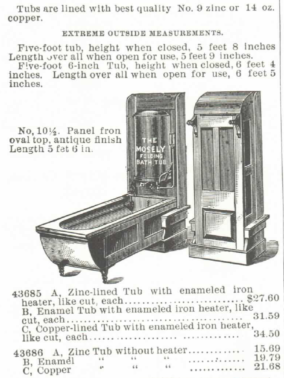 The Mosely Self-Heating Folding Bath Tub and Water Heater (for Gas or Gasoline). For sale in the Montgomery Ward & Co. Catalog of 1895. Part 2 of 4.