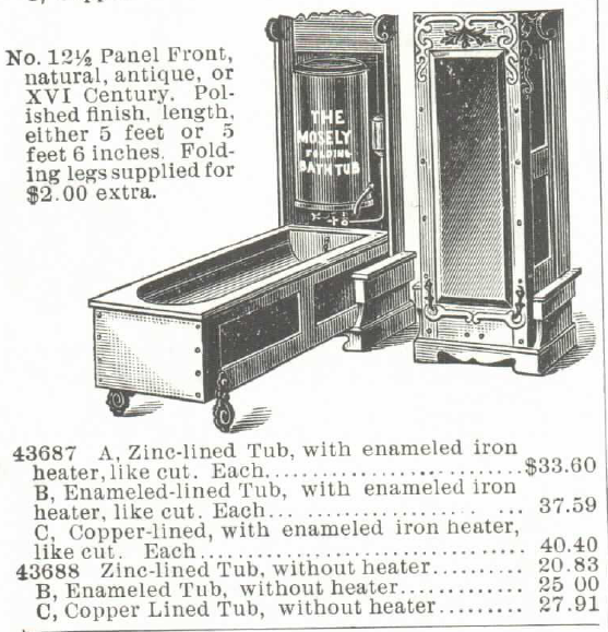 The Mosely Self-Heating Folding Bath Tub and Water Heater (for Gas or Gasoline). For sale in the Montgomery Ward & Co. Catalog of 1895. Part 3 of 4.
