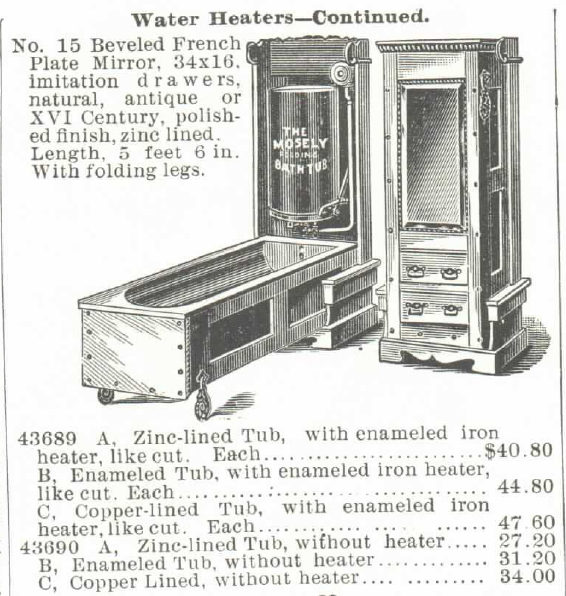 The Mosely Self-Heating Folding Bath Tub and Water Heater (for Gas or Gasoline). For sale in the Montgomery Ward & Co. Catalog of 1895. Part 4 of 4.