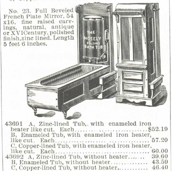 The Mosely Self-Heating Folding Bath Tub and Water Heater (for Gas or Gasoline). For sale in the Montgomery Ward & Co. Catalog of 1895. Part 5 of 5.