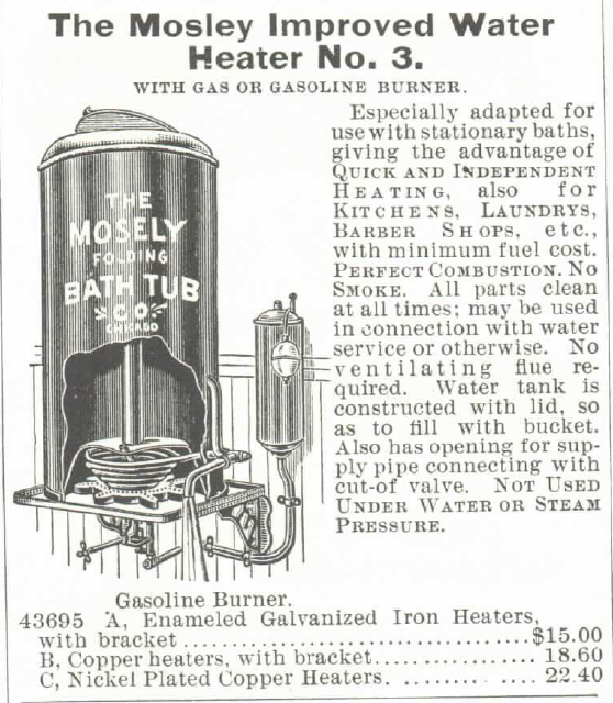 Mosely Water Heater for bathtubs, Improved Model #3 for sale in the Montgomery Ward Catalog of 1895.
