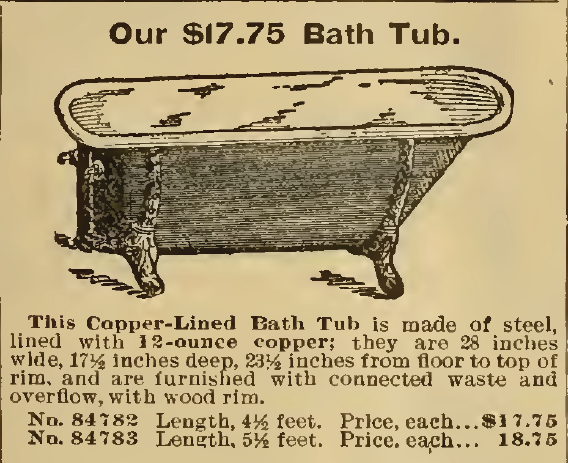 Our $17.75 Bath Tub. Sears, Roebuck & Co. 1898.