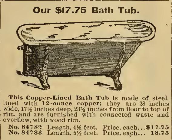 Our $17.75 Bath Tub. Sears, Roebuck & Co. 1898.