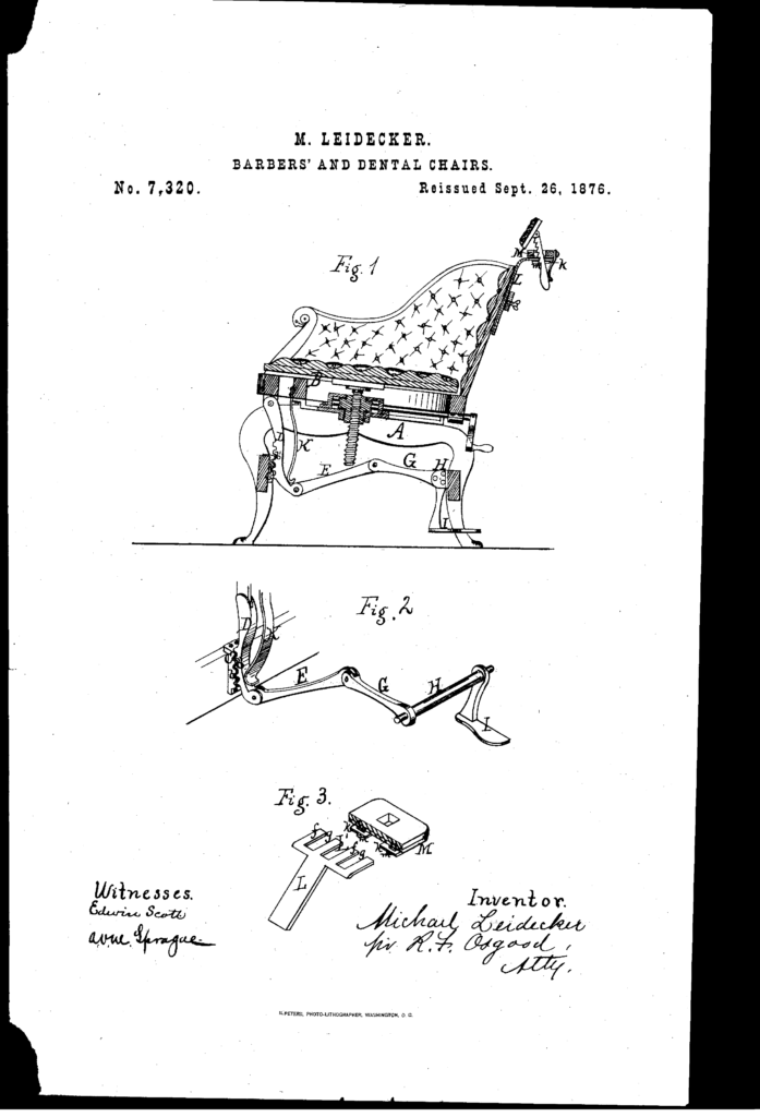 Patent for improvement in Barber and Dentist Chairs. File Date June 6, 1876. Source: Google.