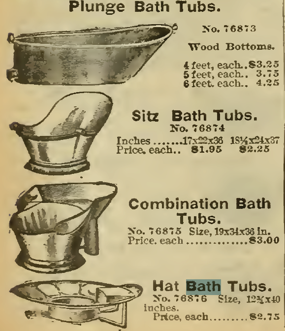 Plunge Baths, Sitz Baths (Hip Baths), Combination Bath Tubs, and Hat Bath Tubs. Sears, Roebuck & Co. 1898.
