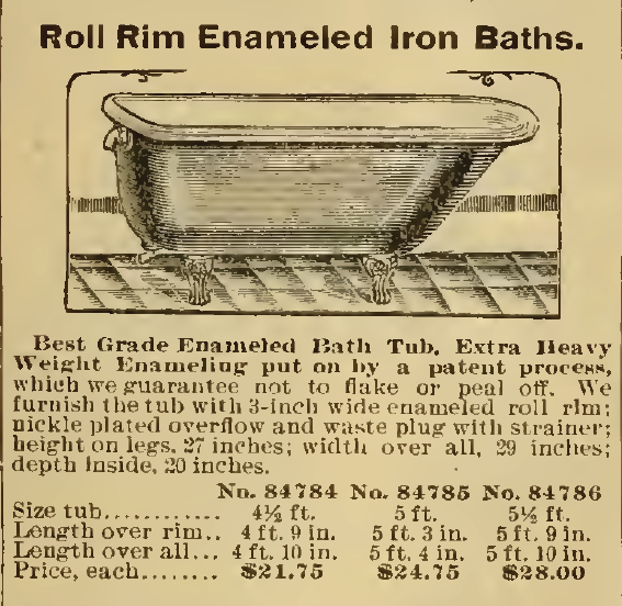 Roll Rim Enameled Iron Baths. Sears, Roebuck & Co. Catalog, 1898.
