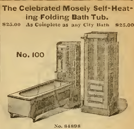 Self-heating Folding Bath Tub. Sears, Roebuck & Co., 1898.