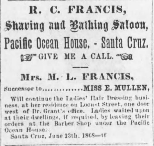Shaving and Bathing Saloon, owned and operated by R.C. Francis and Mrs. M.L. Frances.