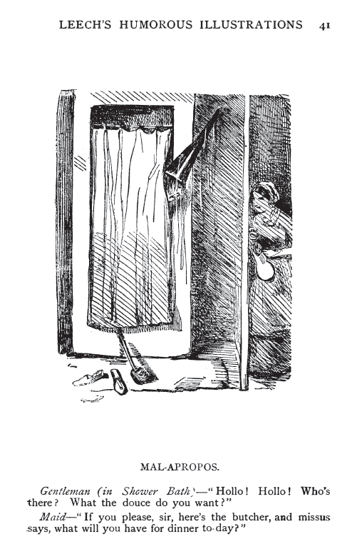 """The same 400 Humorous Sketches publication contained this """"funny"""" caricature illustrating the """"Shower Bath"""", stall-style, in London. Common enough that Leech's readers would find the interruption of a man's abolutions amusing. Leech died in 186X."""