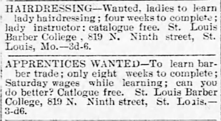 Kristin holt | Victorian Ladies' Hairdressers. St. Louis Barber College trains barbers and ladies hairdressers. The Decatur Herald of Decatur, Illinois, on September 4, 1895.