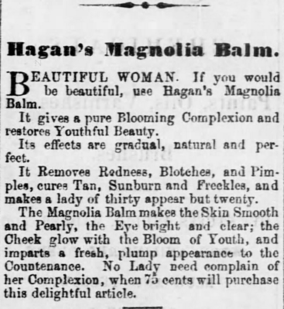 Cures Suntan! Gallipolis Journal of Gallipolis, Ohio on January 20, 1870. Part of Freckles, Complexions, Cosmetics, and Victorian Beauty Concoctions.