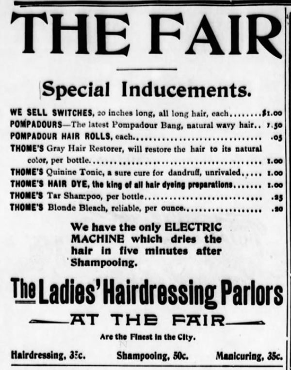 Kristin Holt | Victorian Ladies' Hairdressers. Chicago Eagle of Chicago, Illinois on October 5, 1901.