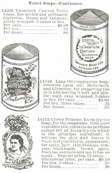 Toilet soaps for the complexion--will do away with sunburn, suntan, and freckles. For sale in the Montgomery Ward & Co. Spring and Summer Catalog, 1895. Posted in Freckles, Complexions, Cosmetics, and Victorian Beauty Concoctions by Author Kristin Holt.