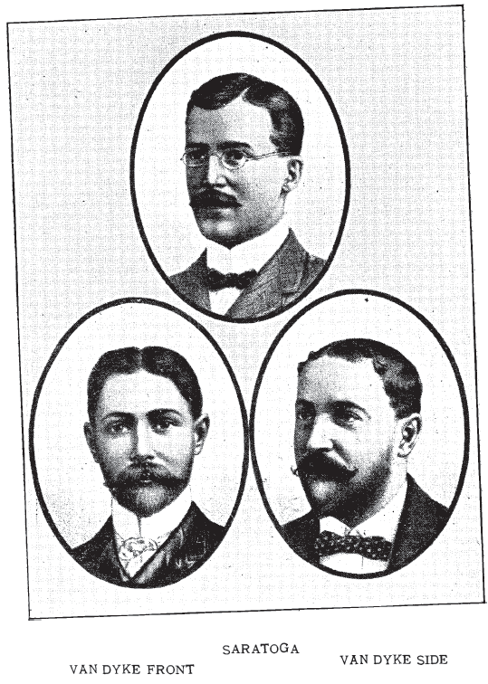 Men's Styles: Van Dyke and Saratoga, from Bridgeford's Revised Barber and Toilet Instuctor Manual, 1904.