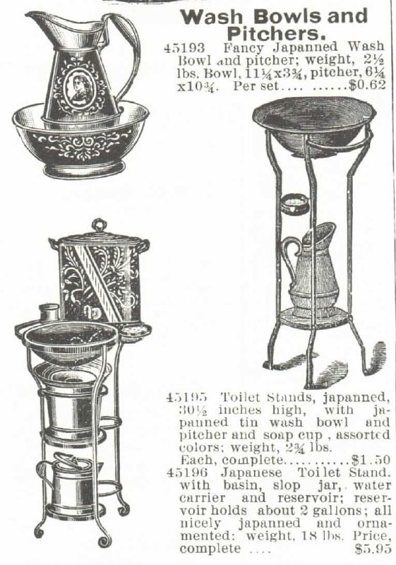 Wash Bowls, Pitchers, and Japanned Toilet Stands, for sale in the Montgomery, Ward & Co. 1895 Catalog.