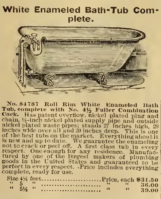White Enameled Bath-Tub Complete, for sale in Sears, Roebuck & Co. Catalog, 1898