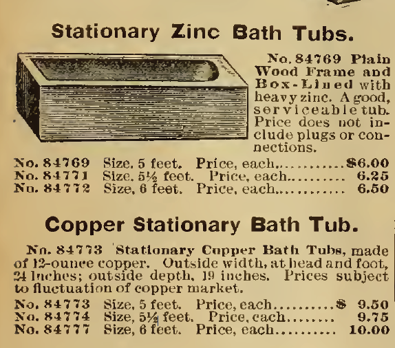 Stationary Zinc Bath Tub and Copper Stationary Bath Tub, in the Sears, Roebuck & Co. Catalog of 1898.