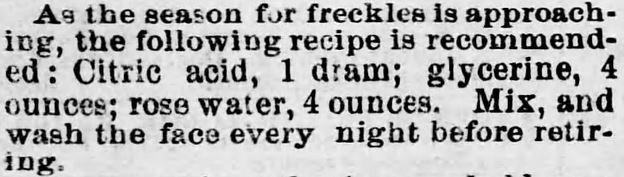 Freckle Treatment. Promoted in the Harrisburg Telegraph of Harrisburg, Pennsylvania, on April 14, 1877.