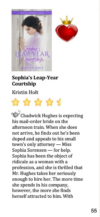 InD'Tale 4.5 Star-Review of SOPHIA'S LEAP-YEAR COURTSHIP, Part 1.
