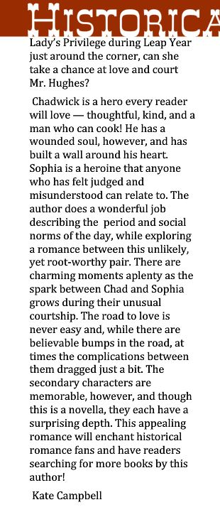 InD'Tale 4.5 Star-Review of SOPHIA'S LEAP-YEAR COURTSHIP, Part 2.