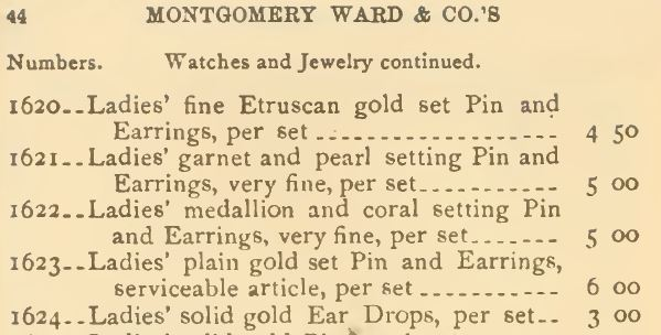 Ear Drops advertised in the Montgomery Ward & Co. Catalog (mail-order) in 1875.