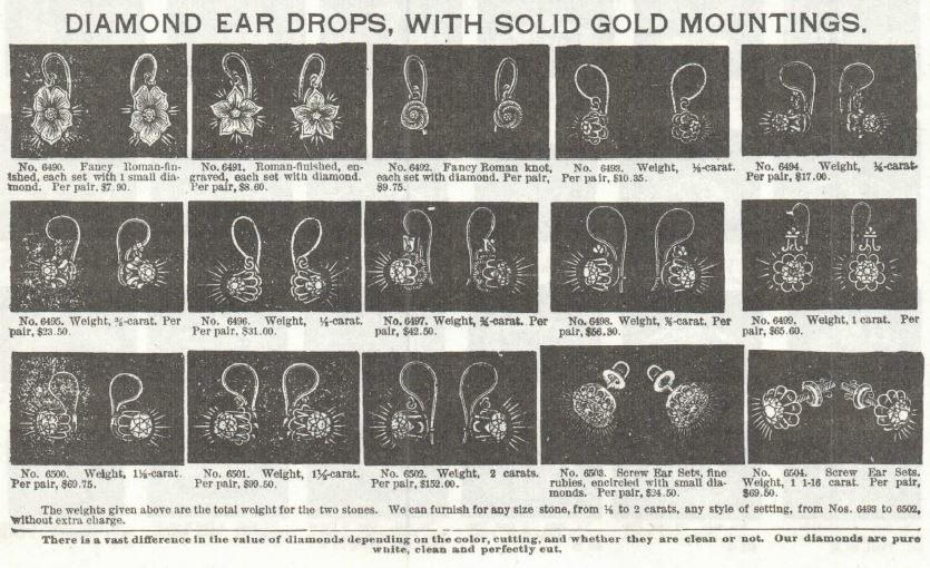Ear Drops and Earrings for sale in the Sears Roebuck & Co. catalog, 1897.