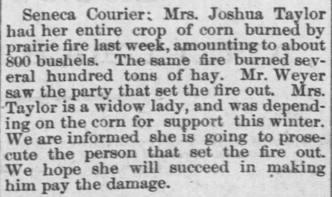 Prairie Fires, Part 2. The Daily Commonwealth of Topeka, Kansas, on November 16, 1880.