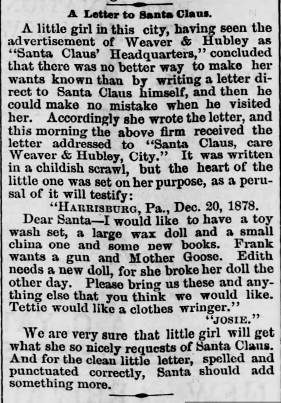Kristin Holt | Victorian Letters to Santa. Harrisburg Telegraph of Harrisburg, Pennsylvania, on December 21, 1878.