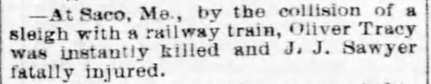 Kristin Holt | How to Conduct a Victorian Sleigh Ride. Fatal accident as sleigh collides with train. Pittsburgh Weekly Gazette of Pittsburgh, Pennsylvania on March 17, 1870.