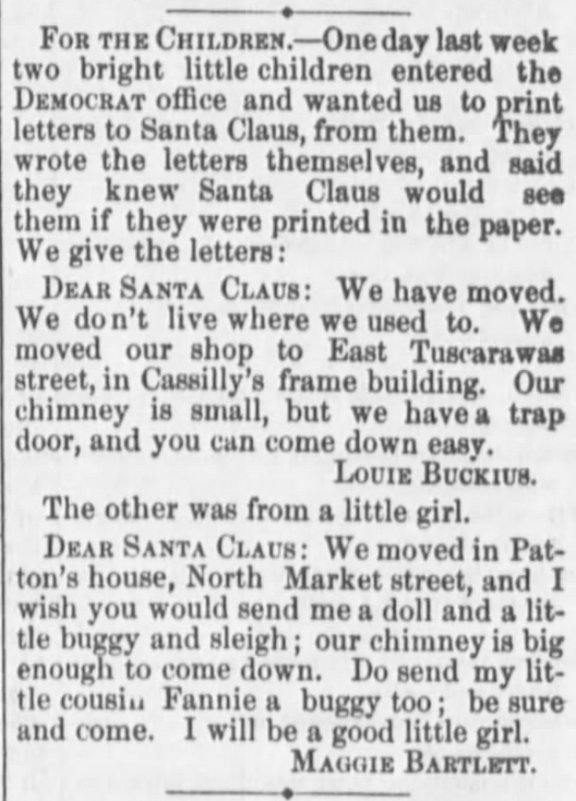 Kristin Holt | Victorian Letters to Santa. The Stark County Democrat of Canton, Ohio, on December 24, 1874.
