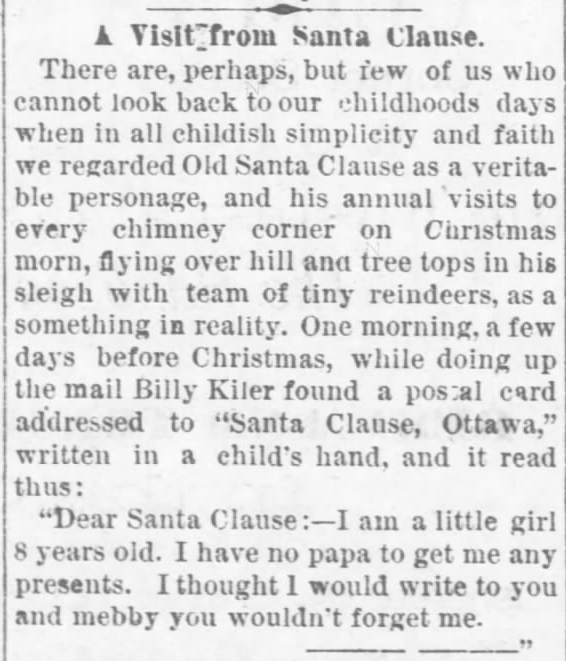 Kristin Holt | Victorian Letters to Santa. The Ottawa Daily Republic of Ottawa, Kansas, on December 28, 1880. Part 1 of 2.