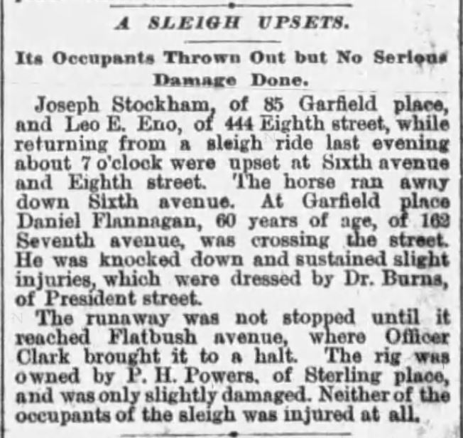 Kristin Holt | How to Conduct a Victorian Sleigh Ride. Sleigh Upset, It's Occupants Thrown Out but No Serious Damage Done; a pedestrian struck by runaway horse-drawn sleigh. Published in Brooklyn Times-Union of Brooklyn, New York, March 8, 1890.