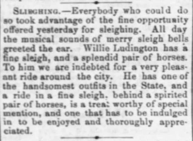 Kristin Holt | How to Conduct a Victorian Sleigh Ride. From Lawrence Daily Journal of Lawrence, Kansas on January 16, 1870. A well-to-do man has a fine sleigh and a splendid pair of horses, one of the handsomest outfits in the state.