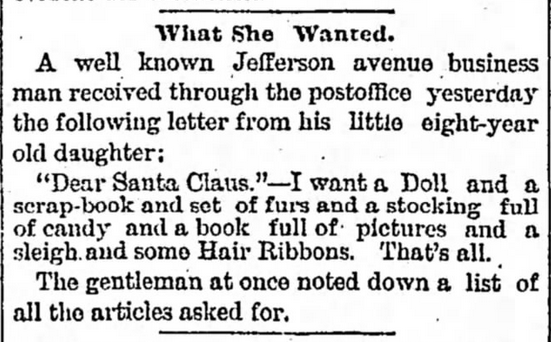Kristin Holt | Victorian Letters to Santa. Detroit Free Press of Detroit, Michigan, on December 24, 1878.
