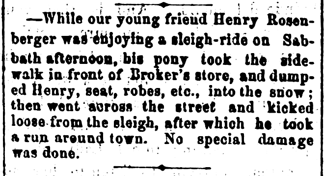 Kristin Holt | How to Conduct a Victorian Sleigh Ride. An accident tumbles driver from his sleigh, then the horse ran about town! The St. Cloud Journal of St. Cloud, Minnesota on February 3, 1870.