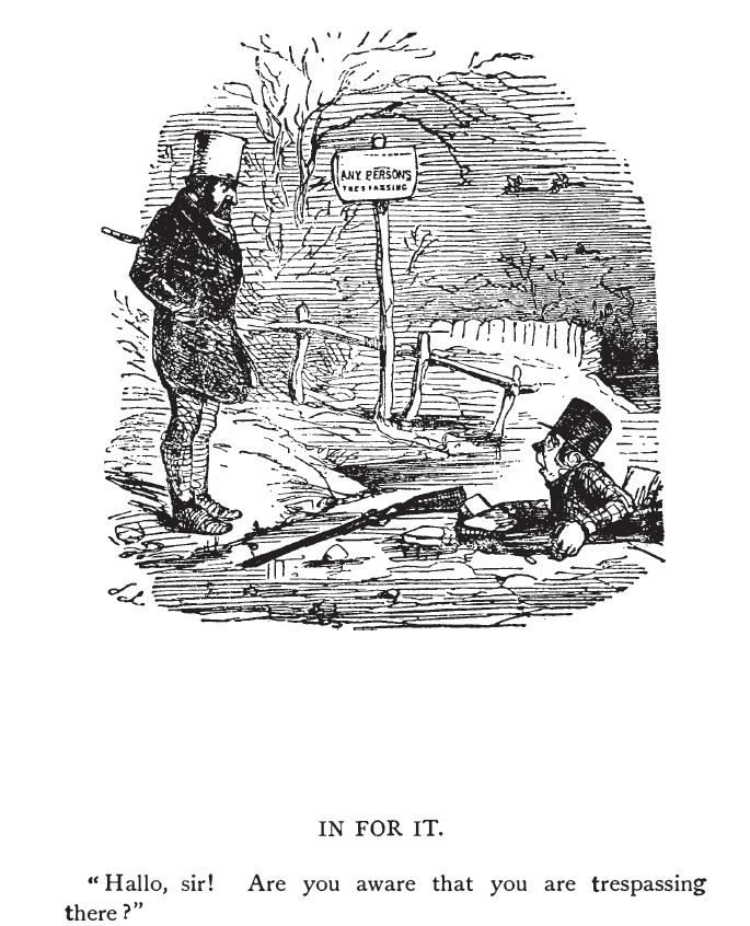 Humorous Illustration: In For It. Trespasser has fallen through the ice. Image appeared in a Victorian-era book titled XXXX
