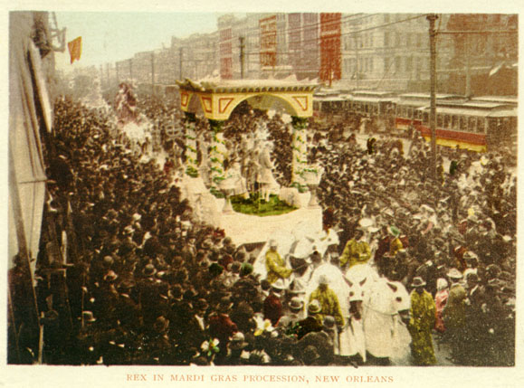 Kristin Holt | Victorian Americans and Mardi Gras. Rex in procession down Canal Street; postcard from around 1900. Image: Wikipedia, Public Domain.
