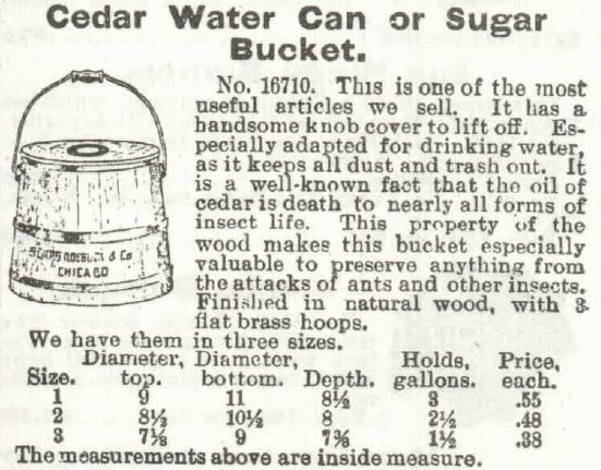 Kristin Holt | Introducing the REAL Sophia Amelia Sorensen...and her cookie jar. Cedar Water Can or Sugar Bucket, sold in Sears, Roebuck & Co. Catalogue 1897.