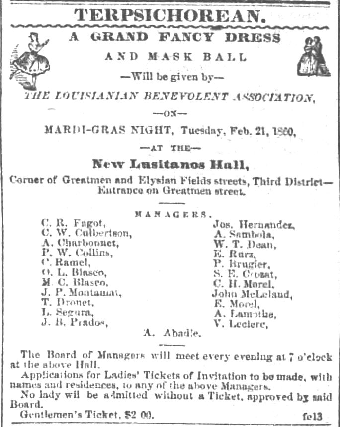 Kristin Holt | Victorian Americans and Mardi Gras. A Grand Fancy Dress and Mask Ball will be given by The Lousianan Benevolent Association on Mardi-Gras Night 1860. The New Orleans Crescent of New Orleans, Louisiana. February 13, 1860.