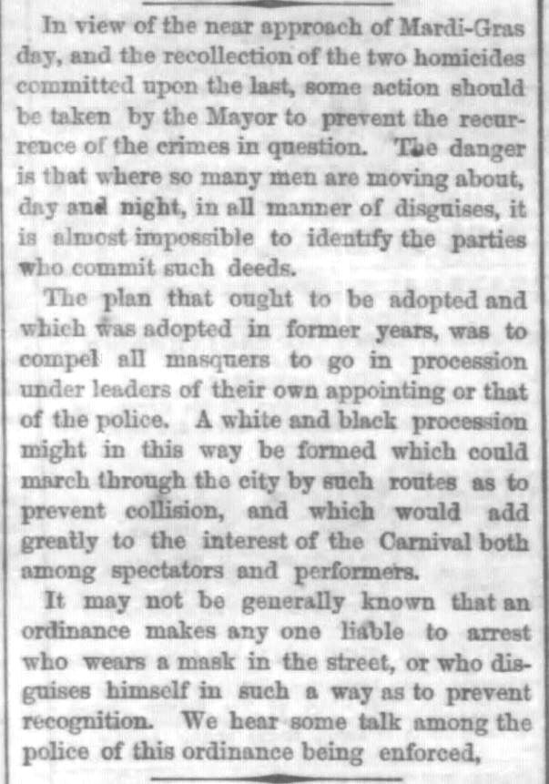 Kristin Holt | Victorian Americans and Mardi Gras. Crime occurs at Mardi-Gras. The Times-Democrat of New Orleans, Louisiana. February 21, 1868.