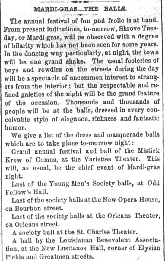 Kristin Holt | Victorian Americans and Mardi Gras. The Balls of Mardi Gras. The New Orleans Crescent, of New Orleans, Louisiana. February 20, 1860. Part 1 of 2.