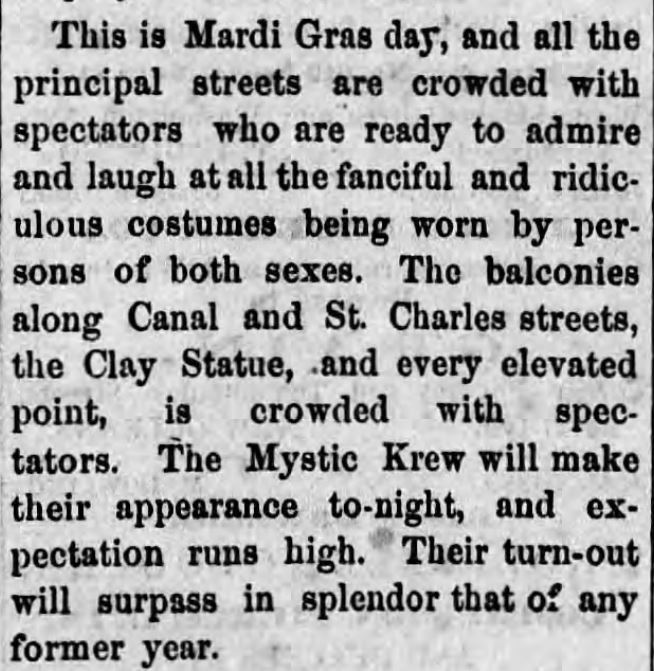 "Kristin Holt | Victorian Americans and Mardi Gras. ""This is Mardi Gras day, and all the principal streets are crowded with spectators who are ready to admire and laugh at all the fanciful and ridiculous costumes being worn by persons of both sexes..."" Clarion Ledger of Jackson, Mississippi, March 9, 1867."