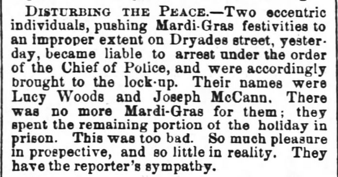 Kristin Holt | Victorian Americans and Mardi Gras. Mardi-Gras festivities out of control. The Times-Picayune of New Orleans, Louisiana. February 25, 1868.